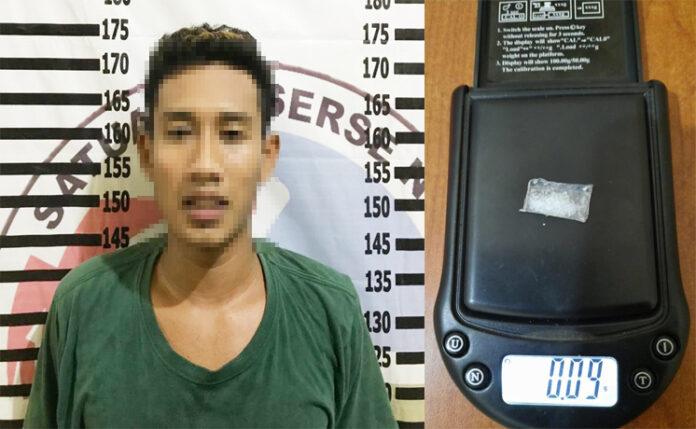 Pemuda berinisial DK (22), yang kedapatan membawa Narkoba di Salah Satu Rumah Makan di Simpang Penawar
