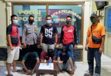 Tiga pelaku berinisial RH (40), GR (20) dan GS (19) yang diringkus Polsek Banjar Agung saat sedang pesta narkoba di sebuah warung