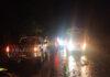 Personel Satlantas Polres Tulang Bawang melakukan pengaturan arus lalu lintas di Jalintim, Kampung Panca Mulya, Kecamatan Banjar Baru