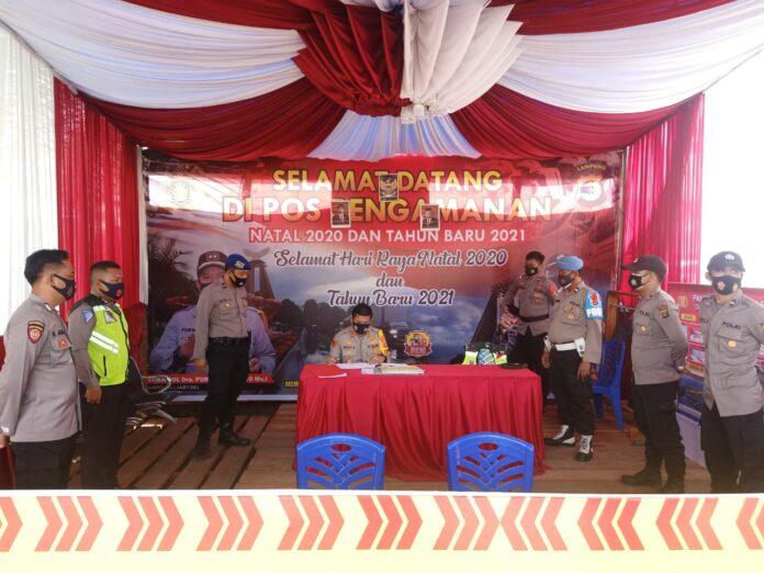Kapolres Tulang Bawang AKBP Andy Siswantoro, SIK saat cek Pos Pam Simpang Penawar