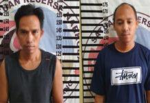 Dua orang pelaku peredaran gelap narkoba jenis sabu berinisial IS (32) dan IL (31), yang diringkus Polisi