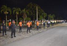 Personel gabungan yang terlibat dalam patroli sekala besar Polres Tulang Bawang