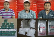 Tiga pelaku penipuan berinisial HS (47), HO (46) dan SO (46), yang dibekuk petugas dari Polsek Banjar Agung bersama Tekab 308 Polres Tulang Bawang
