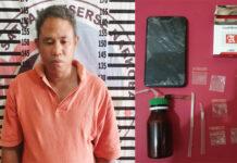 Petani yang nyambi edarkan narkoba jenis sabu berinisial TN (39), dibekuk petugas saat sedang berada di rumahnya di Kampung Bakung Udik