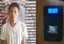 Seorang terduga pengedar narkoba jenis sabu berinisial PH als SI (24), yang dibekuk petugas dari Satresnarkoba Polres Tulang Bawang